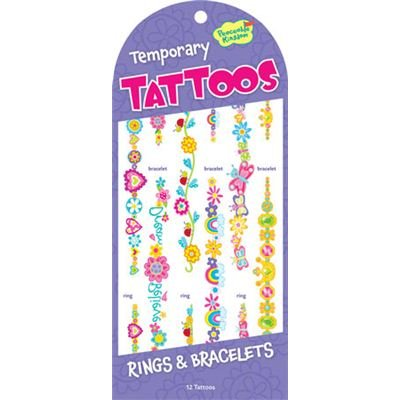 Peaceable kingdom rings and bracelet temporary tattoos
