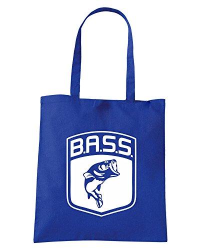 T-Shirtshock - Borsa Shopping FUN0712 bass logo fish largemouth die cut vinyl decal sticker 83988 Blu Royal