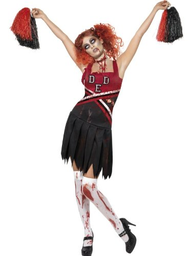 Horror Cheerleader mit Kleid und Pompons, X-Small (Halloween High School Kostüm Ideen)