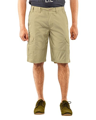 Krystle 6 POCKET Khakhi COTTON CARGO SHORTS (36 )