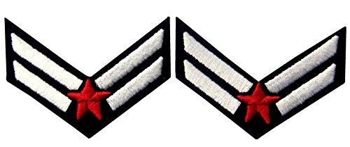 Air Force Flieger Chevron Rank Fashion Dekorative Emblem Besticktes Eisen Auf Nähen Auf Patch, Weiß & Rot, 2 (Force Kind Kostüme Air)