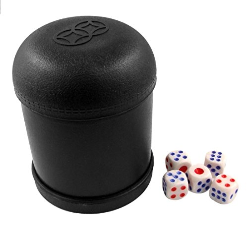 Tokou Dice Cup Shaker Plastic Dice Cup Shaking Dice Mug with 5 Dice Club Game Toy For KTV Pub Casino Black