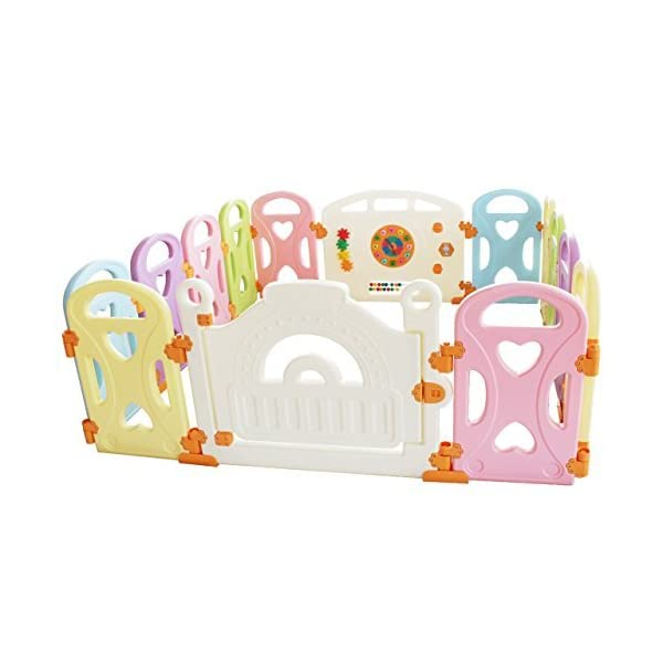 Baby Playpen Kids Activity Centre Safety Play Yard Baby Fence Play Area Baby Gate Home Indoor Outdoor New Pen (Multicolour, Classic Set 14 Panel) (Love 14panels) Gupamiga MOM'S LIFESAVER: Keep baby safe in there play centre when mom/dad needs to cook, clean up, go to the bathroom, etc. STURDY HOLDING: Specially designed rubber feet underneath of the yard so the parts don't go sliding around. COVERS A LARGE AREA: It is a great amount of space for baby to learn walk and even laying with baby in it for play time. 3