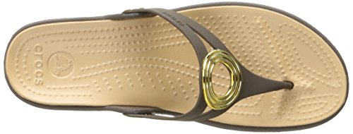 Crocs Sanrah biseauté Cercle flip Wedge Sandal Espresso/Gold