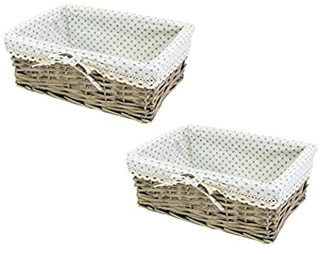 east2eden Willow Wicker Driftwood Shallow Storage Display Basket Box with Grey Polka Dot Lace Liner (Set of 2