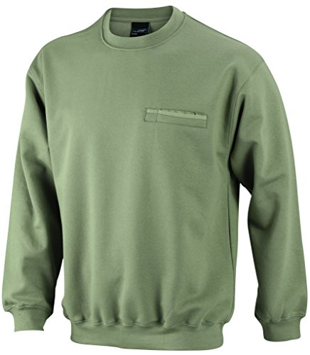 James & Nicholson Herren Round Sweat Pocket Sweatshirt Grün (Khaki)
