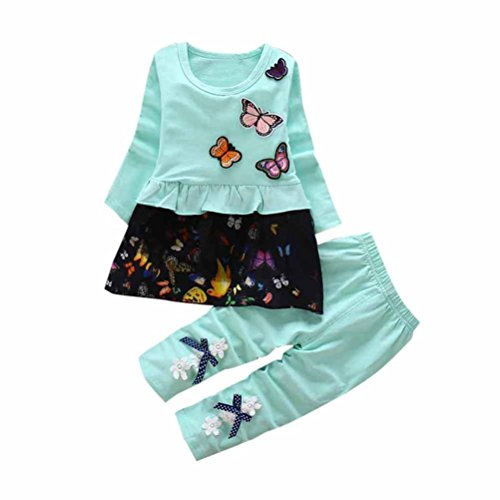 lan Kleinkind Strumpfhosen Mädchen Outfits Drucken Schmetterling T-Shirt Kinder Lange Ärmel Tops Bowknot Kleid Lange Hose Ausgefallene Babykleidung (80cm, Grün) (Top-boys Kostüme)