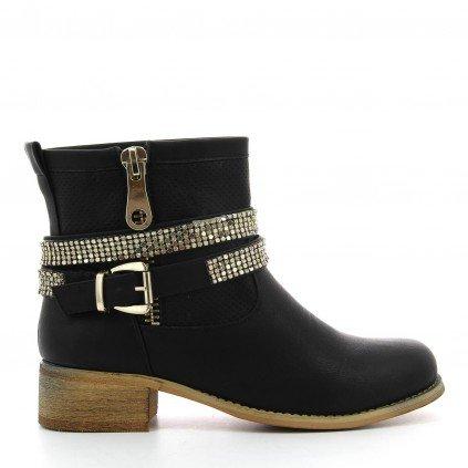 Ideal Shoes, Damen Stiefel & Stiefeletten Schwarz - Schwarz