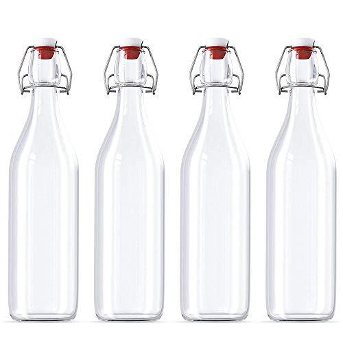 4 Stück 32 Unzen Giara Glasflasche mit Stopperkappen 32 Unzen - Easy Cap Glasflasche - Swing-Top-Flaschen für Ölessig Getränke Bier Wasser Kombucha Kefir Soda -