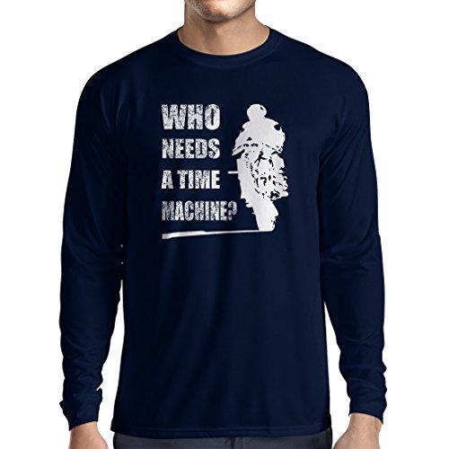 lepni.me T-Shirt Manica Lunga da Uomo Abbigliamento Moto (XX-Large Azzulo