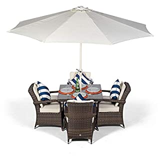 Arizona Rattan Dining Set   Square 4 Seater Brown Rattan Dining Set   Outdoor Poly Rattan Garden Table & Chairs Set   Patio Conservatory Wicker Garden Dining Furniture with Parasol & Cover