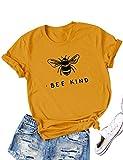 Dresswel Women Bee Kind T-Shirt Cute Bee Graphic Print Short Sleeve Crew Neck Shirts Tee Tops Blouse