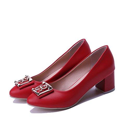 AllhqFashion Damen Weiches Material Ziehen Auf Zehe Mittler Absatz Eingelegt Pumps Schuhe Rot