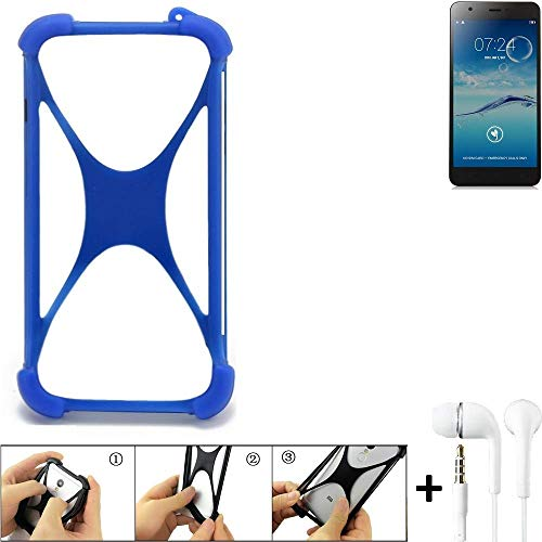 K-S-Trade Handyhülle für Jiayu S3+ Bumper Schutzhülle Silikon Schutz Hülle Cover Case Silikoncase Silikonbumper TPU Softcase Smartphone, Blau (1x), Headphones