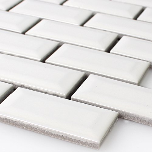 Keramik Metro Mosaik Fliesen mit Facette Weiss Glänzend -