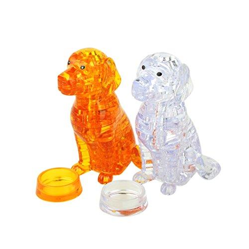 Homyl 2 Sets 3D Kristall Puzzlespiel Hund Modell Kristallblöcke DIY Spielzeug Dekoration (41 Stück / Set) (Hund Spielzeug Denken)