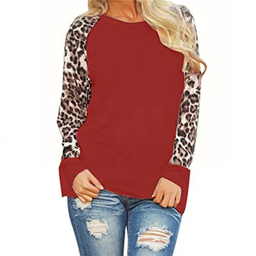 Dasongff Damen Rundhals Langarm Longshirt Leopard Patchwork Sweatshirts Pullover Stretch Modisch Tunika Tops Pulli Große Größen Oversized Langarmshirt Strickpullover S-5XL