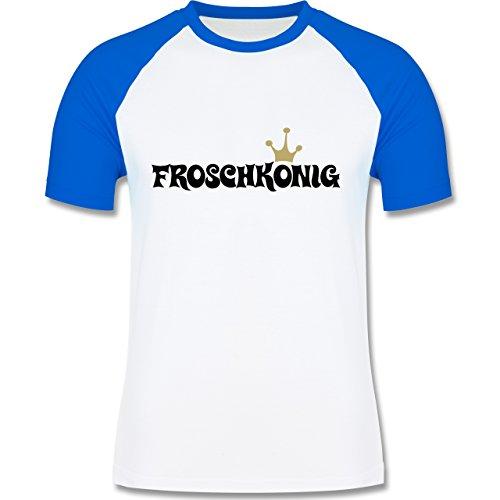 Typisch Männer - Froschkönig - zweifarbiges Baseballshirt für Männer Weiß/Royalblau