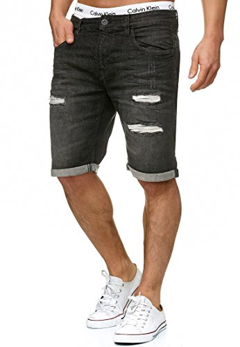 Indicode Herren Caden Jeans Shorts Kurze Denim Hose mit Destroyed-Optik aus Stretch-Material Regular Fit Black XL Sexy Pullover Schwarz