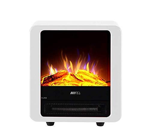 GHDE& Registro De Llama Eléctrica Efecto Ardiente Hogar Estufa 900 / 1800W Casa Fuego Ventilador Calentador,Blanco...