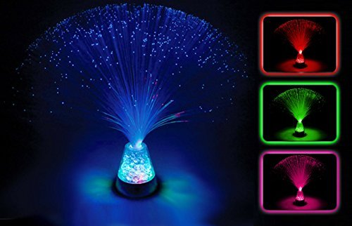 Glasfaser-Lampe mit Farbwechsel, mit Boden, 33 cm (13 Zoll), Design Lampe Stimmungslicht-Batterien enthalten-Glowhouse Marke