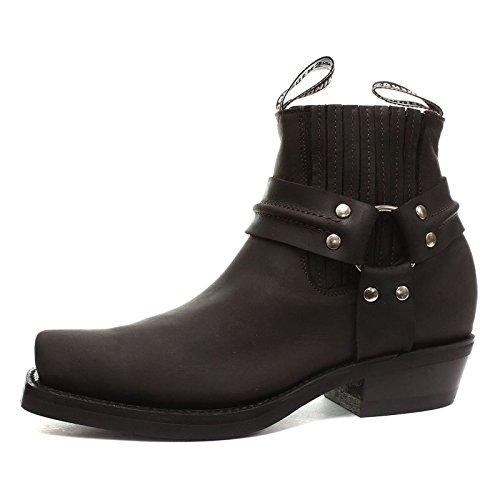 Grinder Mens Harness Lo Crazy Horse Leather Boots Brun Foncé