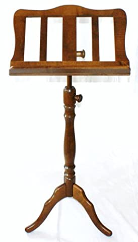 Chester Wooden Music Stand Maple Walnut Finish Curved Baroque-Style Stand Ideal for Large Heavy Music