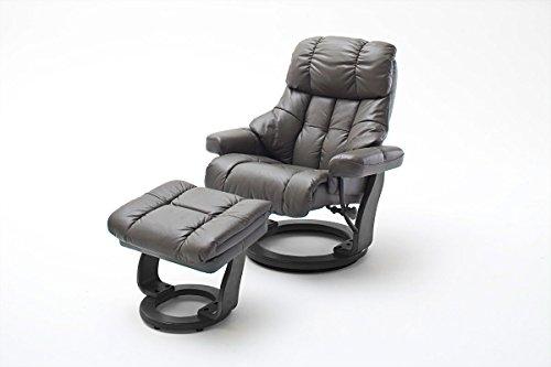 lifestyle4living Relaxsessel XXL aus Leder in Grau mit Hocker | Fernsehsessel ist 360° drehbar und hat verstellbare Rückenlehne | Sessel lädt zum Entspannen EIN
