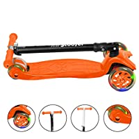 Running Wheels Sporting Limited RW Sports Kick Push Tilting Foldable Tri Scooter adjustable handlebar with bright flashing LED lights DIY assemble for boys & girls aged 3+ and up to 50kg (Orange)