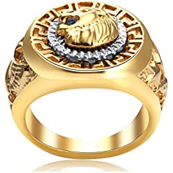 Sorella'z Mens Metal Golden Lion Face Ring