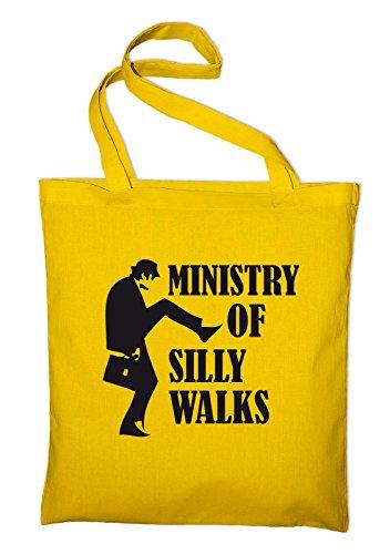#1 Monty Python Ministry of Silly Walks Jutebeutel, Beutel, Stoffbeutel, Baumwolltasche, natur Gelb