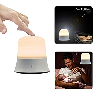 Babys Night Light for Kids, Sensor Touch Control, Brightness and Warm White/Cool White Color Rechargeable Bedside Lamp, Eye Caring LED Nursery Light, IP65 Waterproof, Dimmable Nursing Night Lamp