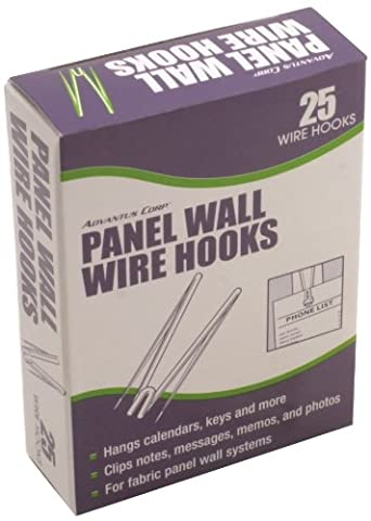Advantus Panel Wall Wire Hooks, Silver, 25 Hooks per Pack (75370)