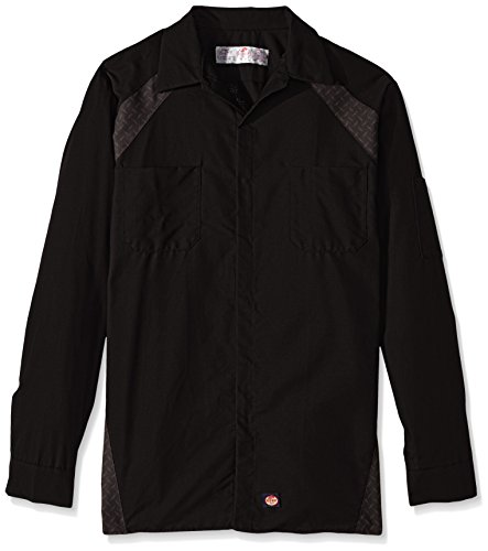 Red Kap Men's Big and Tall Diamond Plate Long-Sleeve Work Shirt, Black, 3X-Large - Big And Tall Long Sleeve Work Shirt