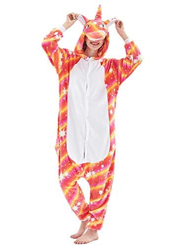 Tier Pyjama Karneval Kostüm Karton Tierkostüme Jumpsuit Erwachsene Schlafanzug Unisex Cosplay (Medium, orangefarbig)