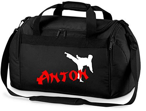 Sporttasche mit Namen   Motiv Karate in weiß & rot für Jungen & Mädchen   Reisetasche zum Umhängen