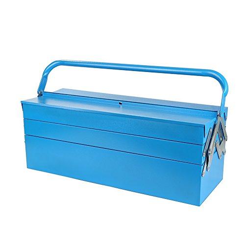 550 x 200 x 200 mm Werkzeugkasten Leer Werkzeugbox, Multifunktions Werkzeugkoffer 1x Hauptfach, 2 x 2 Ausziehbare Fächer Mit Unterteilung, Blau
