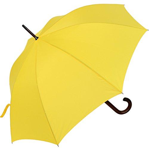 RS-Regenschirm Holzstock groß stabil für Damen und Herren mit Automatik- gelb