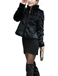 Abrigo para mujer,Koly mujer Ajustado Color sólido Manga larga Collar mandarín Piel de imitación Pelo de conejo Rex Fur capa Gruesa piel caliente Chaqueta Parka chubasquero para mujer