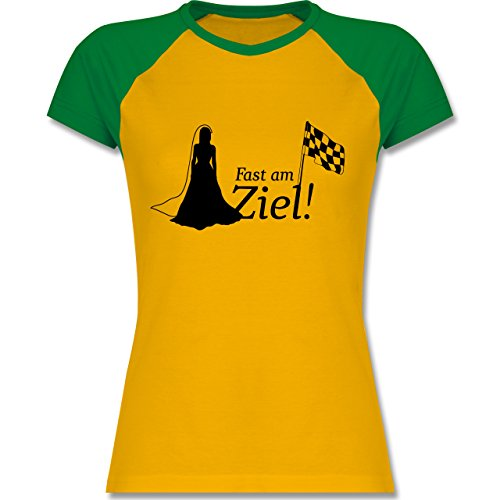 Shirtracer JGA Junggesellinnenabschied - Fast Am Ziel - Zweifarbiges Baseballshirt/Raglan T-Shirt für Damen Gelb/Grün