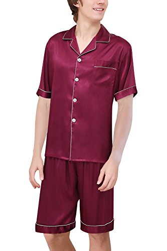 Dolamen Herren Schlafanzug, Satin Paare Kurz Zweiteiliger Pyjamas Frühling Sommer, Herren Schlafanzug mit Überprüfen Sie geknöpftes Hemd Kragen mit Tasche L XL XXL (XXX-Large, Rose) (Pyjama Check Set Short)