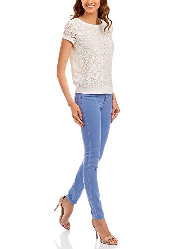 oodji Ultra Damen Basic-Jeanshose Slim Fit Blau (7000W)
