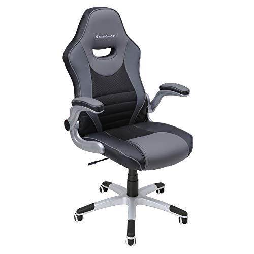 SONGMICS Bürostuhl, ergonomischer Drehstuhl, mit klappbaren Armlehnen, Nylon-Sternfuß, Tragfähigkeit 150 kg,schwarz grau OBG63BG