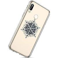 Handytasche Huawei P20 Lite Silikonhülle Cover Durchsichtige Handyhülle Silikon Kristall Klar Schutzhülle Crystal Clear Handycover Silikon Dünn Transparent Hüllen,Weihnachten Schneeflocke