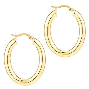 PAVOI 14K Gold Plated Sterling Silver Post Monet Oval Chunky Lightweight Hoop Earrings for Women