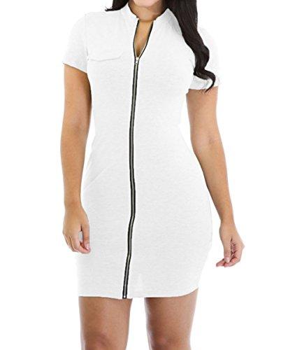 Dissa DSY22710 femme robe zip cocktail Blanc