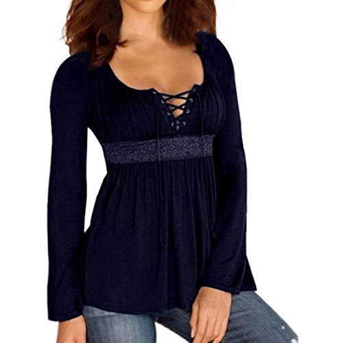 MEIbax Bluse e Camicie Donna Taglie Forti/Pullover Donna Cotone/Camicetta da Donna Lunga/Top Camicetta Casual Bende Solide/Camicia Donne Manica Lunga V-Collo T-Shirt Cotone (Marino, M)