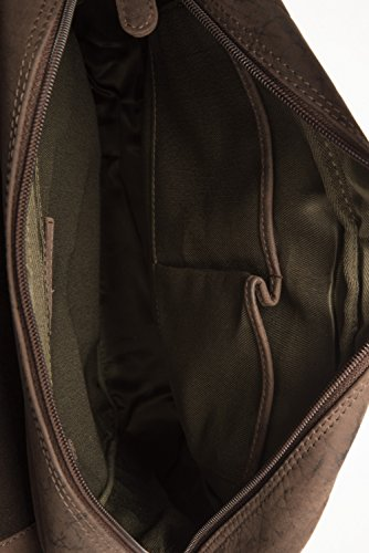 LEABAGS Amsterdam Umhängetasche aus echtem Büffel-Leder im Vintage Look - Muskat Muskat