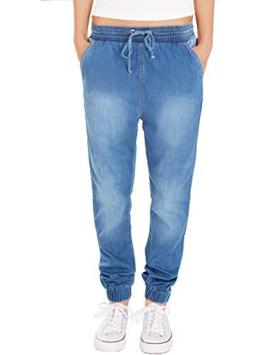 Fraternel Damen Stoffhose Jogg Jeans Pluderhose Blau M / 38 -W30