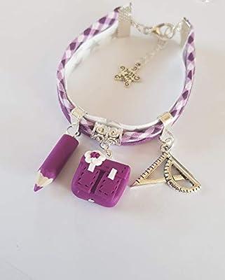 bracelet maitresse cadeau violet liberty cartable argent cadeau original